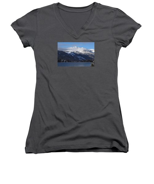 Women's V-Neck T-Shirt (Junior Cut) featuring the photograph June Lake Winter by Duncan Selby