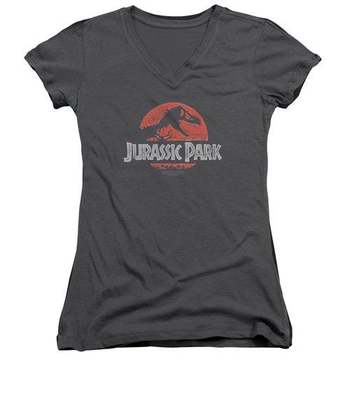 Jurassic Park - Faded Logo Women's V-Neck T-Shirt (Junior Cut)