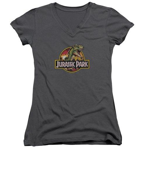Jurassic Park - Retro Rex Women's V-Neck T-Shirt (Junior Cut)