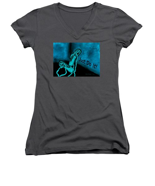 Women's V-Neck featuring the painting Just Do It - Blue by Barbara St Jean
