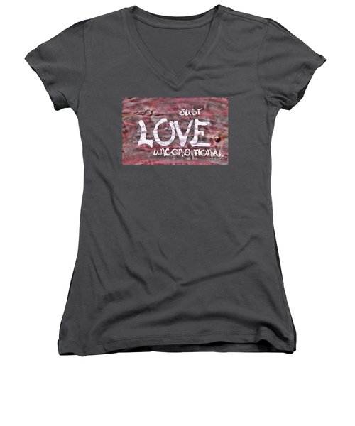 Women's V-Neck T-Shirt (Junior Cut) featuring the photograph Just Love Unconditional  by Cathy  Beharriell