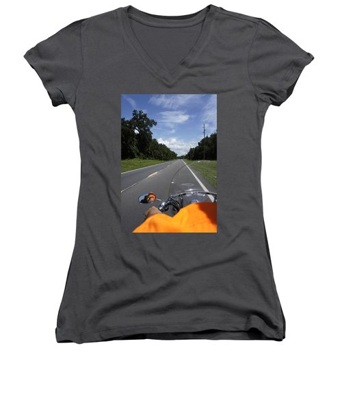 Just Ride Women's V-Neck T-Shirt (Junior Cut) by Laurie Perry