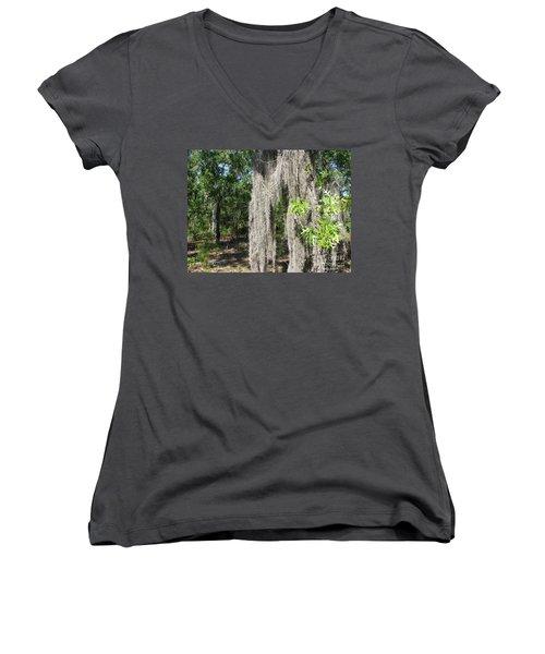 Women's V-Neck T-Shirt (Junior Cut) featuring the photograph Just The Backyard by Greg Patzer