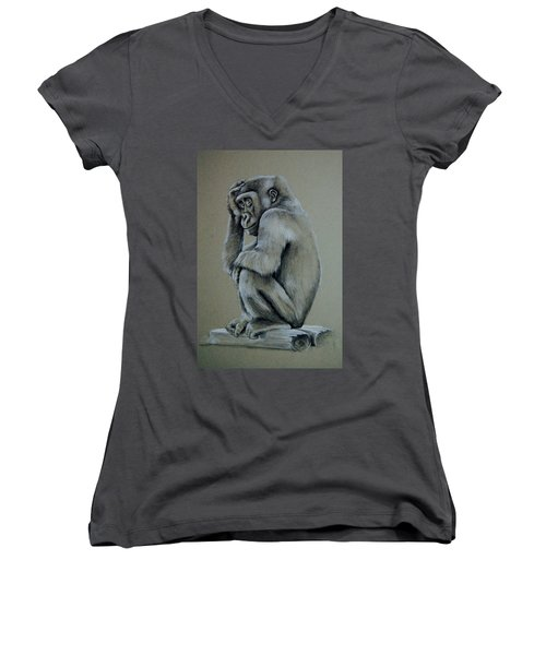Just Thinking Women's V-Neck T-Shirt (Junior Cut) by Jean Cormier