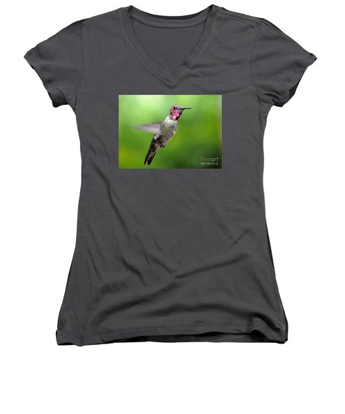 Women's V-Neck T-Shirt (Junior Cut) featuring the photograph Juvenile Male Anna's In Flight by Jay Milo