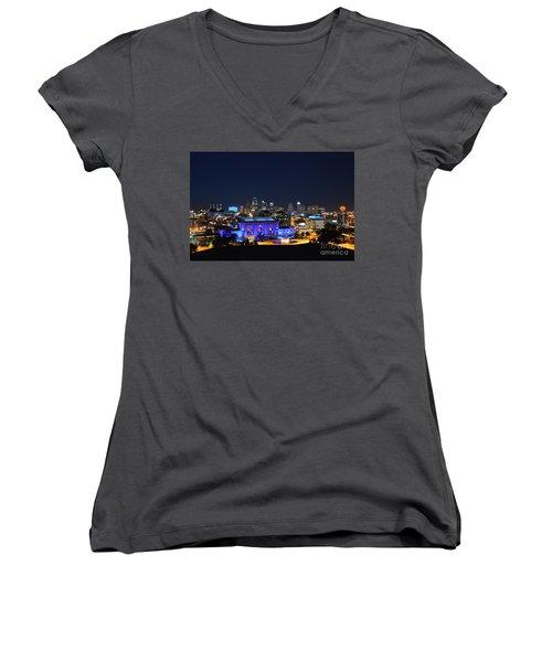 Kansas City Union Station In Blue  Women's V-Neck T-Shirt (Junior Cut)