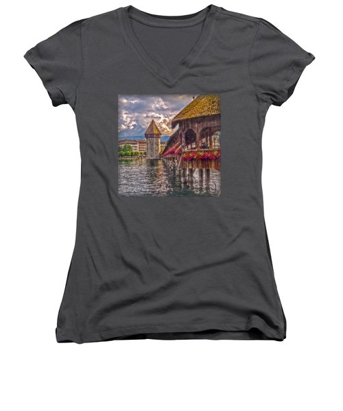Kapellbruecke Women's V-Neck T-Shirt (Junior Cut) by Hanny Heim