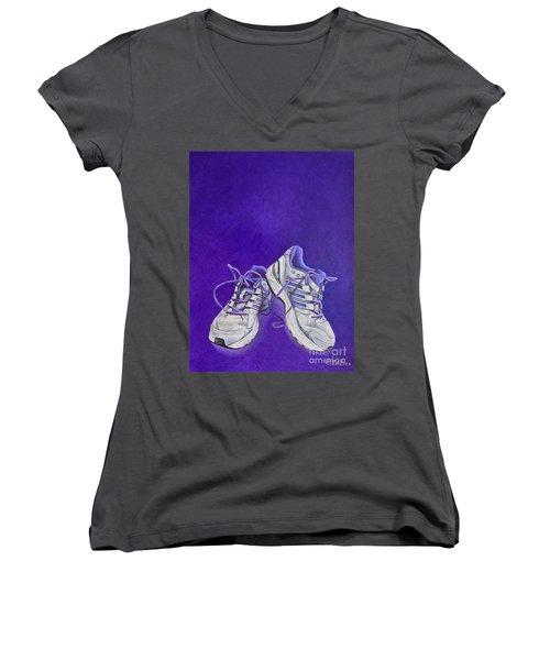 Women's V-Neck T-Shirt (Junior Cut) featuring the painting Karen's Shoes by Pamela Clements