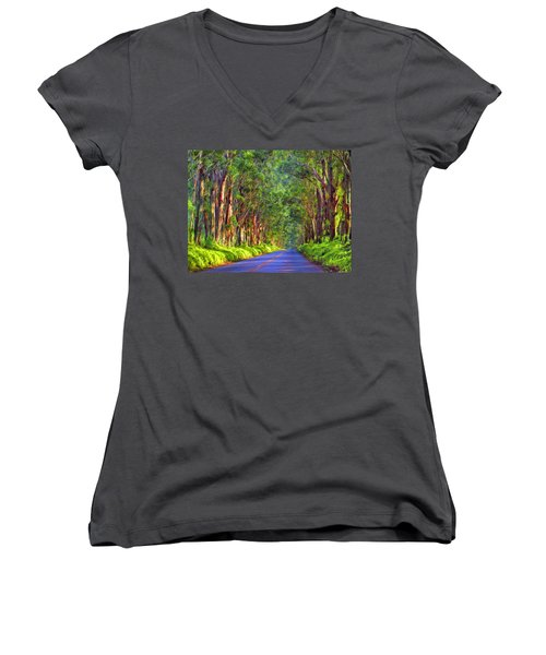 Kauai Tree Tunnel Women's V-Neck T-Shirt (Junior Cut) by Dominic Piperata