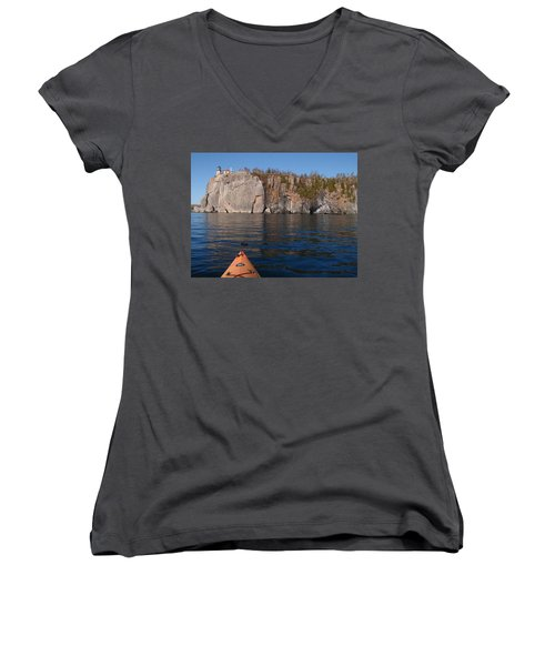 Women's V-Neck T-Shirt (Junior Cut) featuring the photograph Kayaking Beneath The Light by James Peterson
