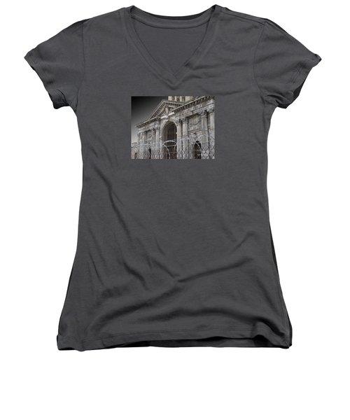 Keep Out Women's V-Neck T-Shirt (Junior Cut) by Ann Horn