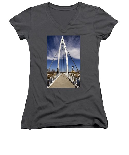 Keeper Of The Plains Bridge View Women's V-Neck (Athletic Fit)