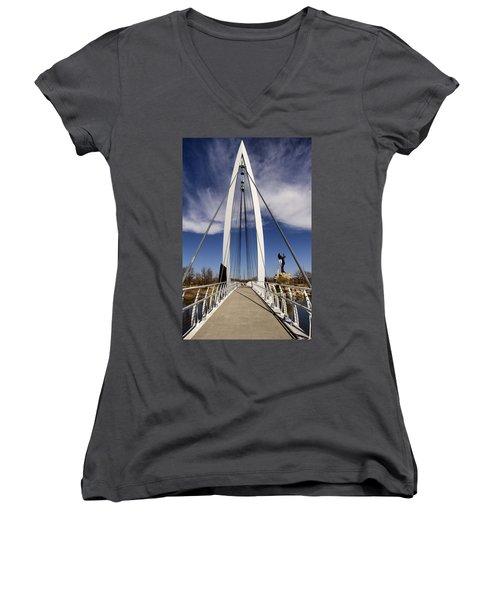 Keeper Of The Plains Bridge View Women's V-Neck T-Shirt