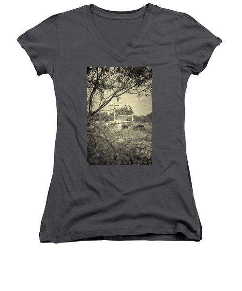 Women's V-Neck T-Shirt (Junior Cut) featuring the digital art Keeping Watch by Erika Weber
