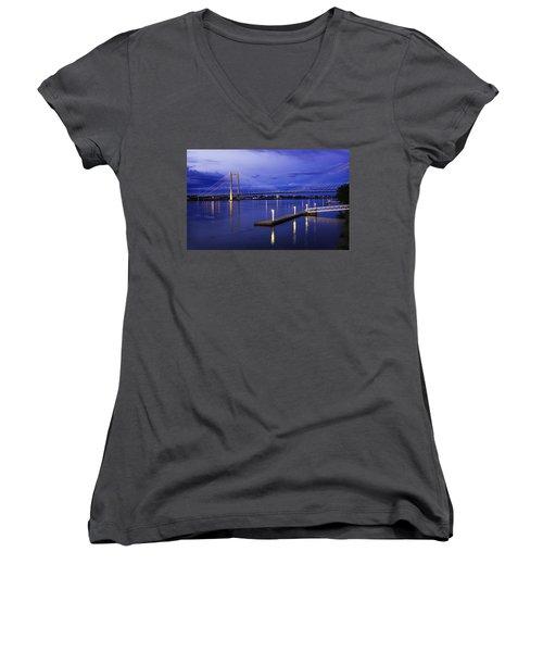 Women's V-Neck T-Shirt (Junior Cut) featuring the photograph Kennewick Bridge 2 by Sonya Lang