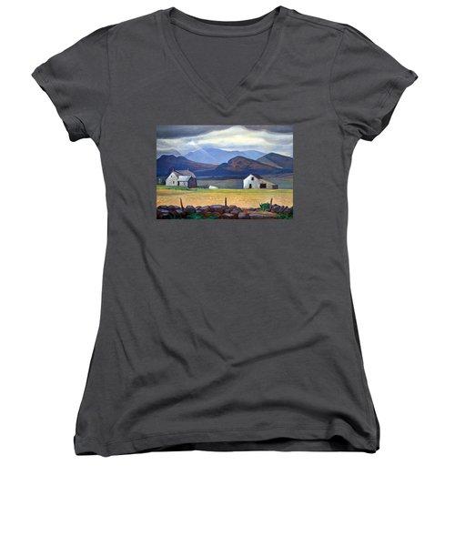 Kent's Adirondacks Women's V-Neck T-Shirt (Junior Cut) by Cora Wandel