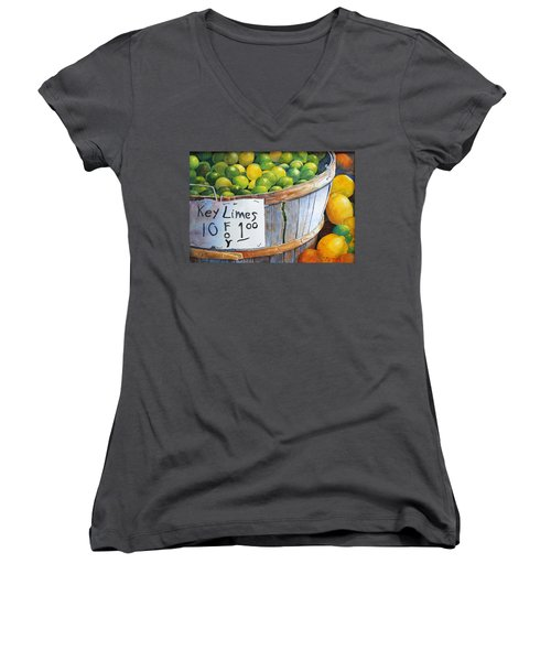Key Limes Ten For A Dollar Women's V-Neck T-Shirt