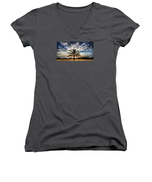 Key West Florida Lone Palm Tree  Women's V-Neck (Athletic Fit)