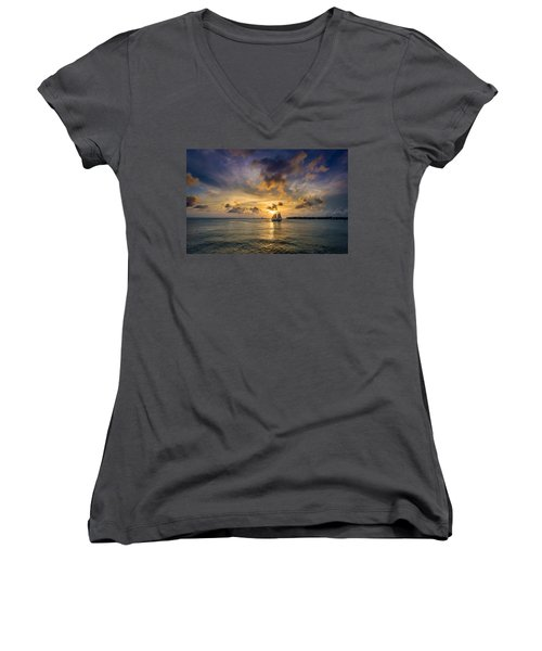 Key West Florida Sunset Mallory Square Women's V-Neck (Athletic Fit)