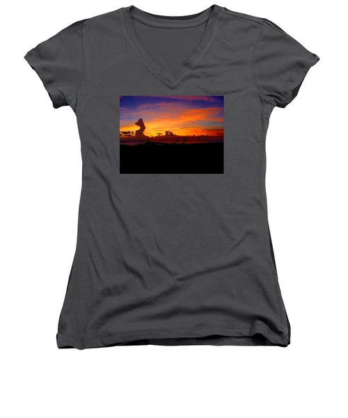 Key West Sun Set Women's V-Neck T-Shirt (Junior Cut) by Iconic Images Art Gallery David Pucciarelli