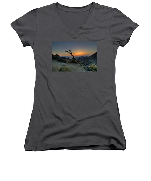 Keys View Sunset Women's V-Neck T-Shirt (Junior Cut) by Dave Files