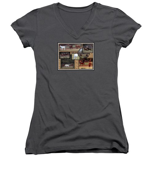 Horses Kickin It  Women's V-Neck T-Shirt (Junior Cut) by Bobbee Rickard