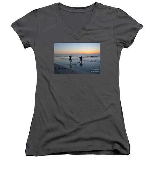 Women's V-Neck T-Shirt (Junior Cut) featuring the photograph Kids At The Beach by Robert Meanor