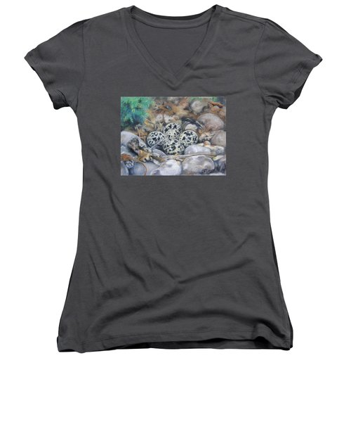 Killdeer Nest Women's V-Neck T-Shirt (Junior Cut) by Lori Brackett