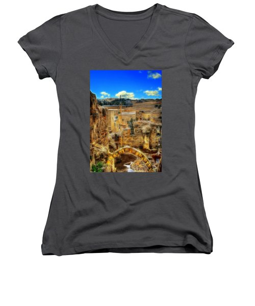 Peaceful Israel Women's V-Neck (Athletic Fit)