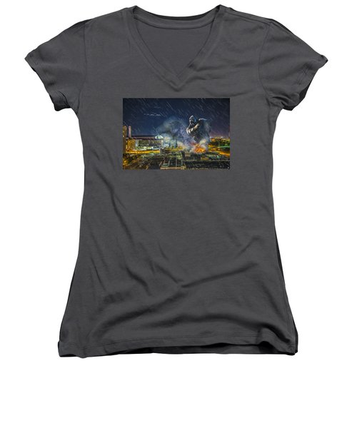Women's V-Neck T-Shirt (Junior Cut) featuring the photograph King Kong By Ford Field by Nicholas  Grunas