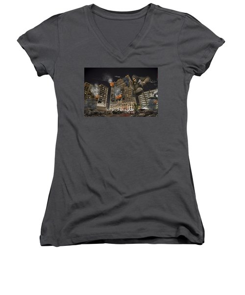 Women's V-Neck T-Shirt (Junior Cut) featuring the photograph King Kong In Detroit Westin Hotel by Nicholas  Grunas
