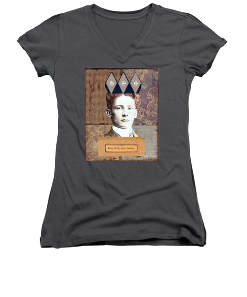Women's V-Neck T-Shirt (Junior Cut) featuring the mixed media King Of My Own Destiny by Desiree Paquette