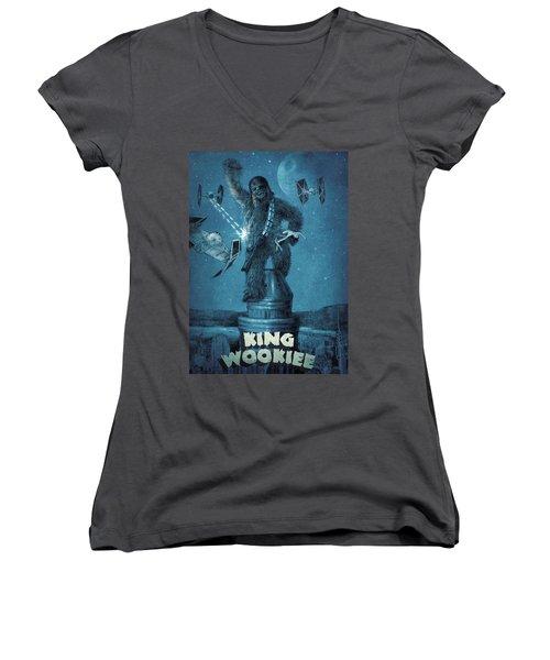 King Wookiee Women's V-Neck T-Shirt (Junior Cut) by Eric Fan