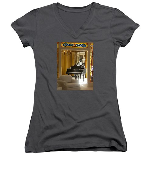 Kings Piano Women's V-Neck T-Shirt (Junior Cut) by Jewels Blake Hamrick