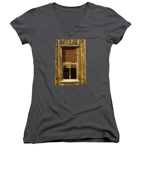 Kirwin Window-signed-#0223 Women's V-Neck T-Shirt (Junior Cut) by J L Woody Wooden