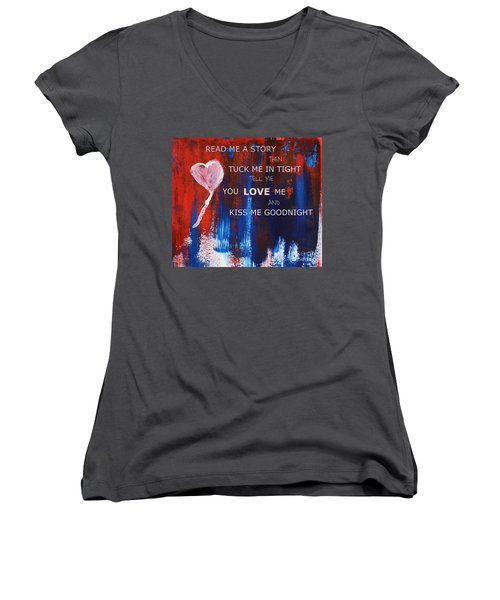 Kiss Me Goodnight Women's V-Neck T-Shirt (Junior Cut) by Andrea Anderegg