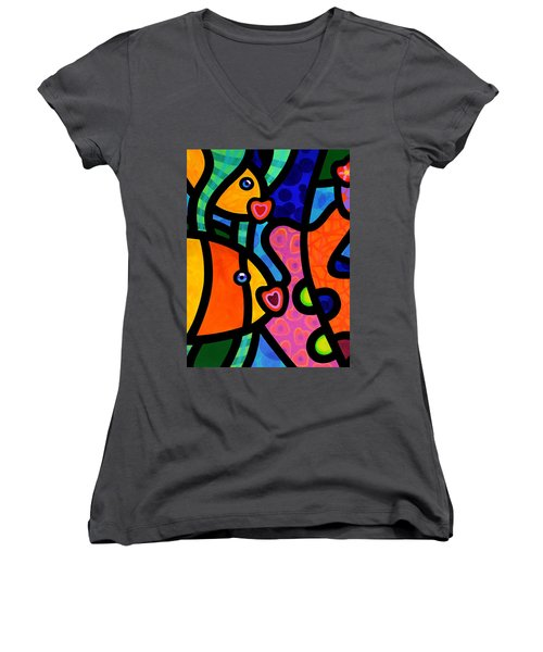 Kissing Fish Reef Women's V-Neck (Athletic Fit)