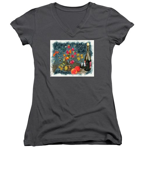 Kitchen - Peaches And Wine Painting  Women's V-Neck T-Shirt (Junior Cut) by Liane Wright