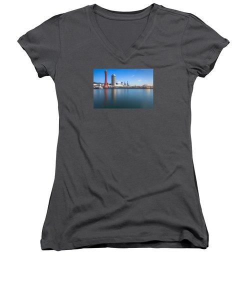 Kobe Port Island Tower Women's V-Neck T-Shirt (Junior Cut) by Hayato Matsumoto