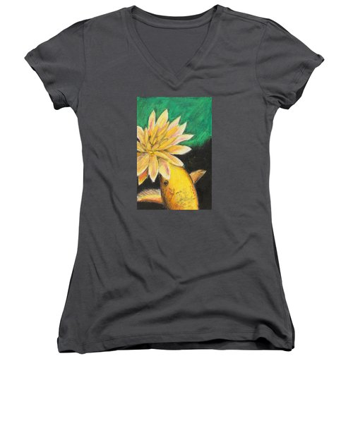 Women's V-Neck T-Shirt (Junior Cut) featuring the painting Koi And The Lotus Flower by Jeanne Fischer
