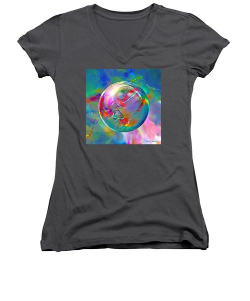 Koi Pond In The Round Women's V-Neck T-Shirt (Junior Cut) by Robin Moline