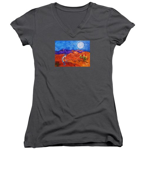 Kokopelli Playing To The Moon Women's V-Neck T-Shirt (Junior Cut) by Ellen Levinson
