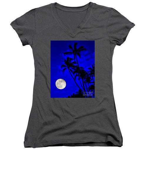 Kona Moon Rising Women's V-Neck T-Shirt