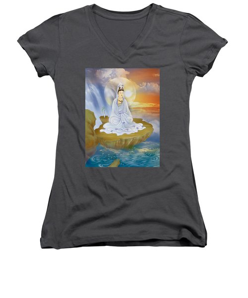 Kwan Yin - Goddess Of Compassion Women's V-Neck T-Shirt (Junior Cut) by Lanjee Chee