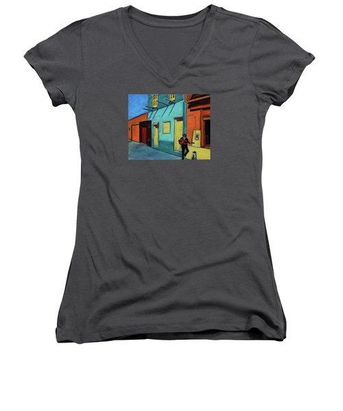 La Boca Morning II Women's V-Neck T-Shirt (Junior Cut) by Xueling Zou