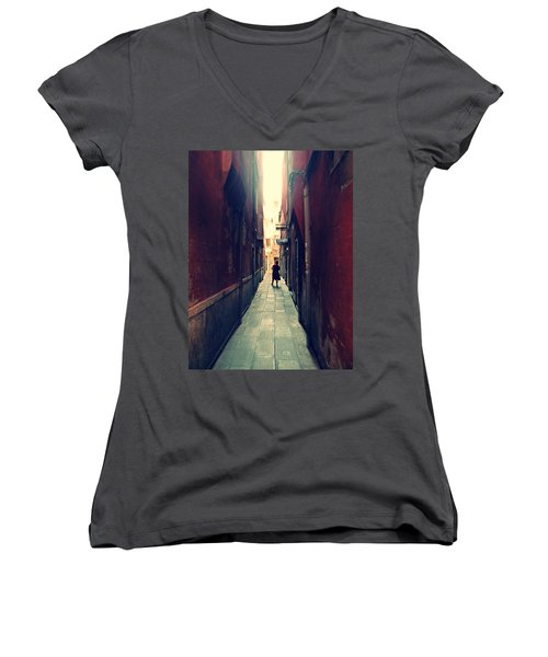 Women's V-Neck T-Shirt (Junior Cut) featuring the photograph La Cameriera  by Micki Findlay