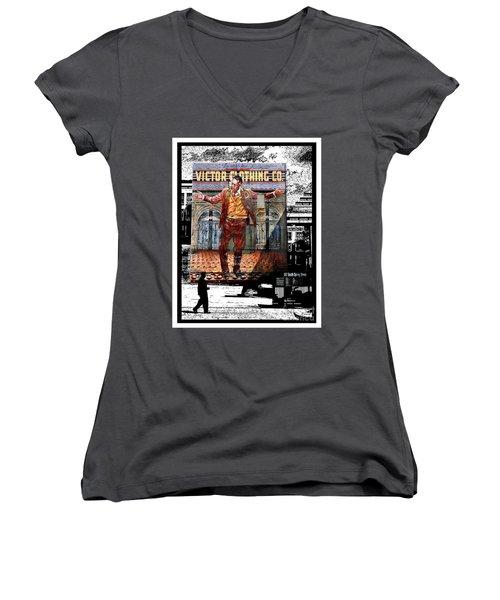 Women's V-Neck T-Shirt (Junior Cut) featuring the digital art La City Beat Digitized by Jennie Breeze