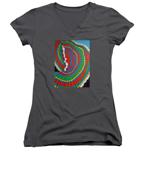 Women's V-Neck T-Shirt (Junior Cut) featuring the painting La Falda Girando - The Spinning Skirt by Katherine Young-Beck