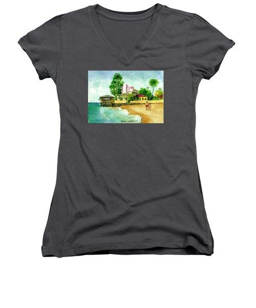 La Playa Hotel Isla Verde Puerto Rico Women's V-Neck T-Shirt (Junior Cut) by Frank Hunter