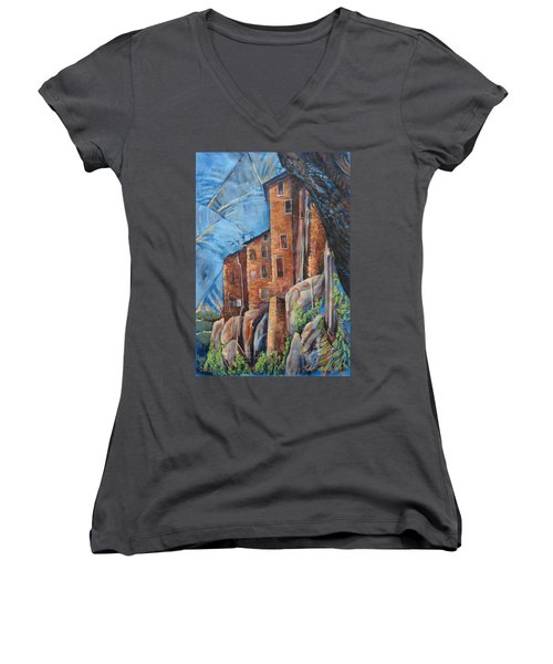 La Rocca Citta Lg Italy Women's V-Neck T-Shirt (Junior Cut)